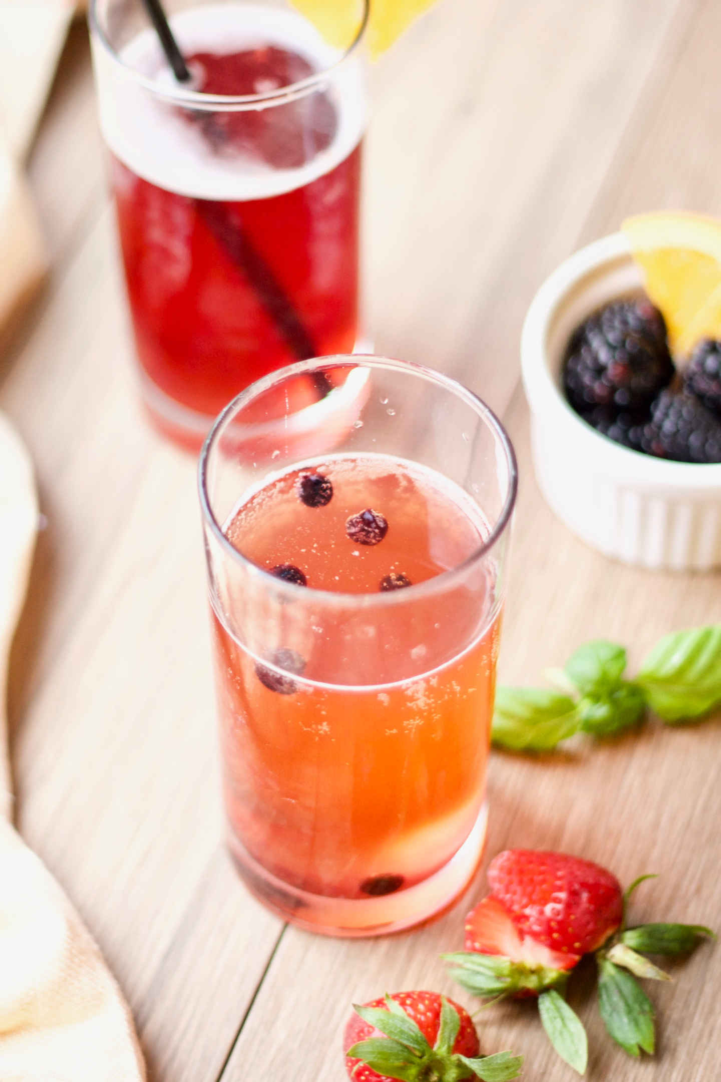 glasses of fizzy berry probiotic fermented tea