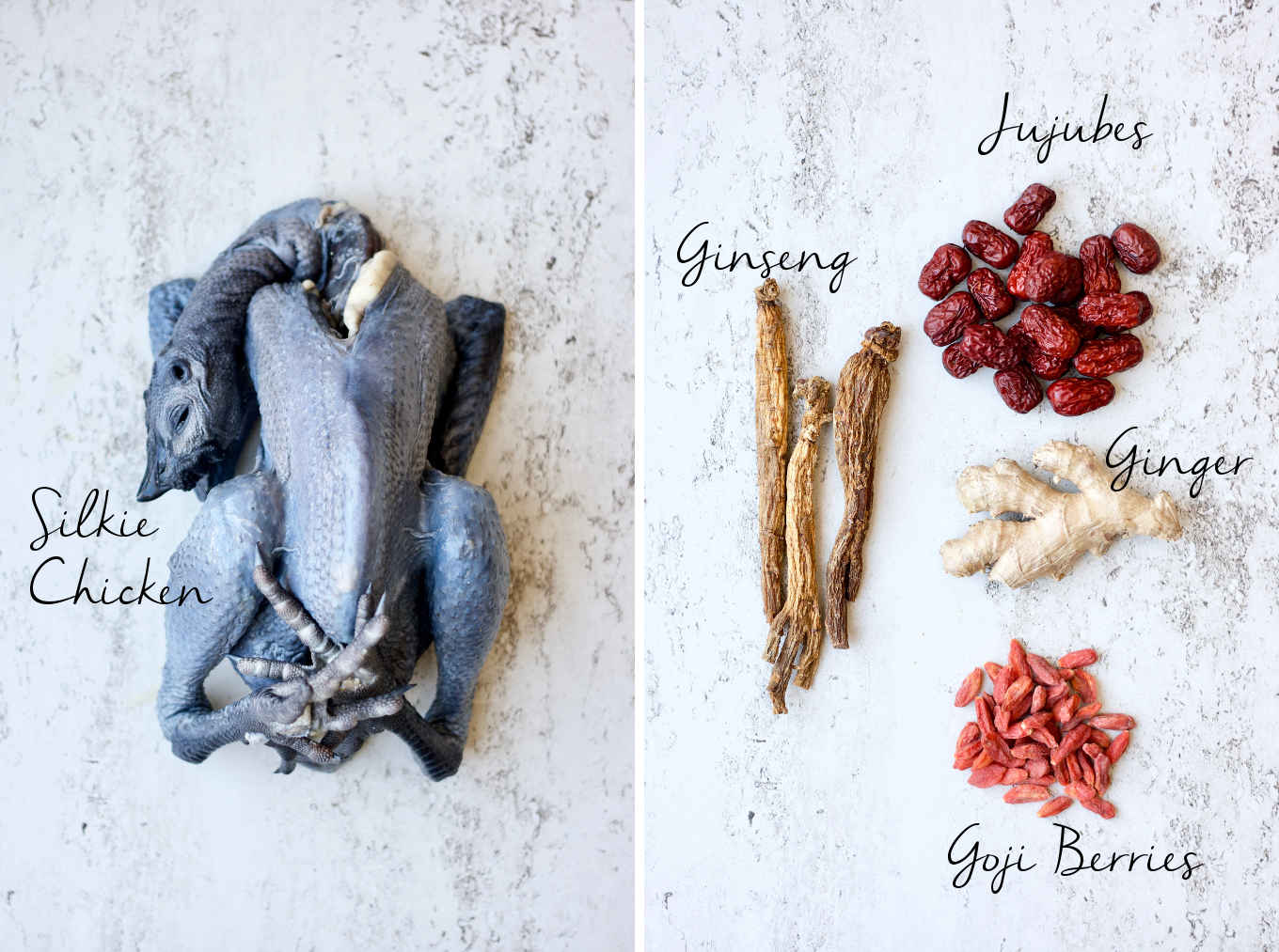 Ingredients for this recipe: silkie chicken (a.k.a. black chicken), ginseng, jujubes, ginger and goji berries.