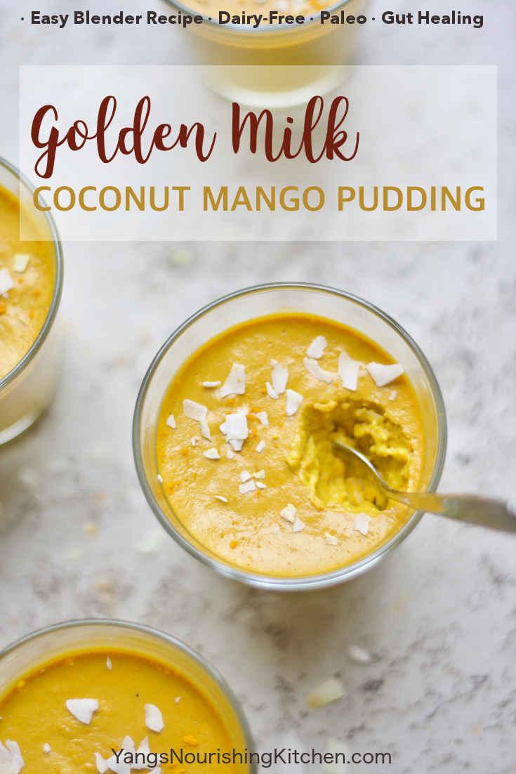 No-Cook Golden Milk Coconut Mango Pudding (Paleo, AIP, GAPS)