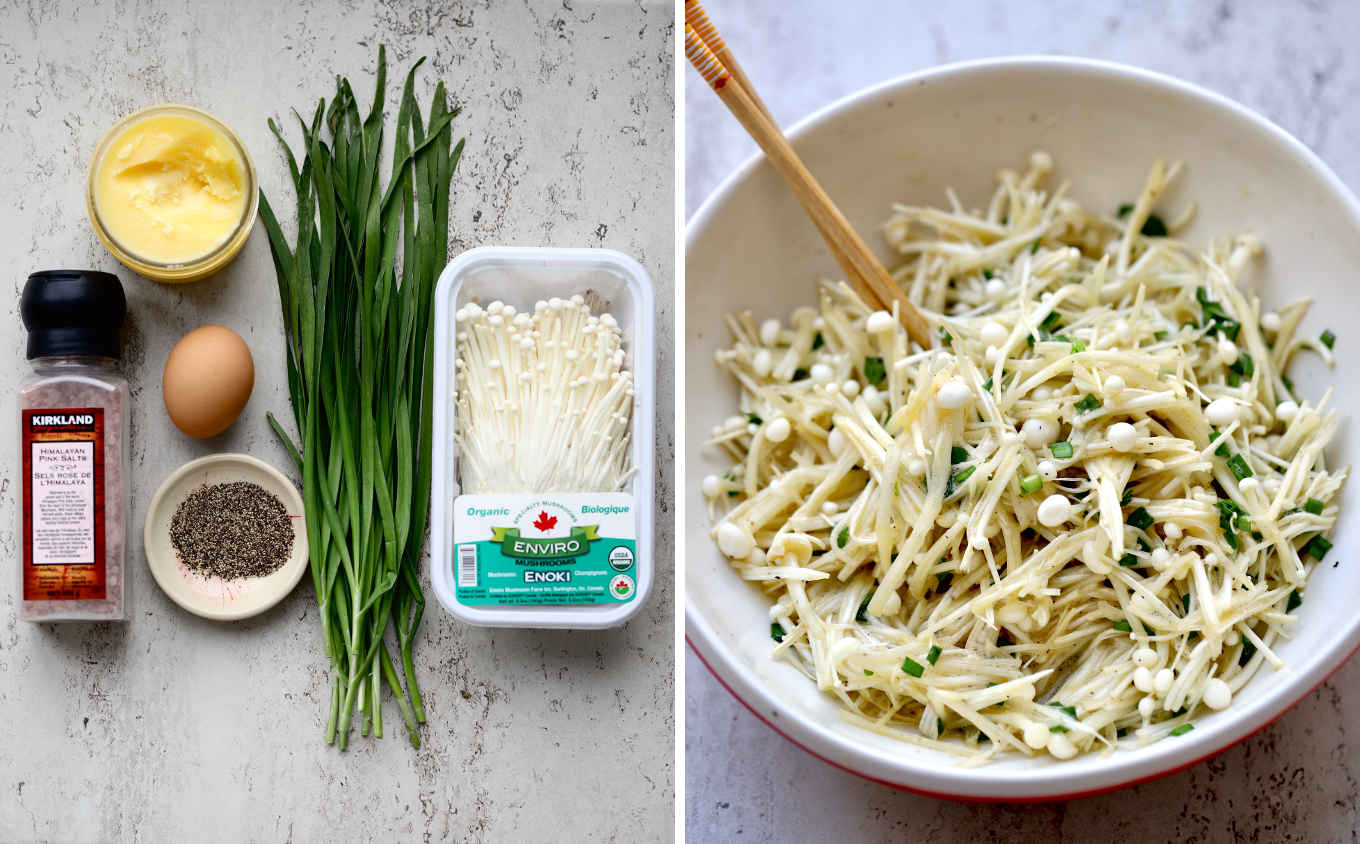 Recipe ingredients: salt, pepper, ghee, egg, enoki mushrooms and Asian chives. Mix all but the ghee in a mixing bowl.