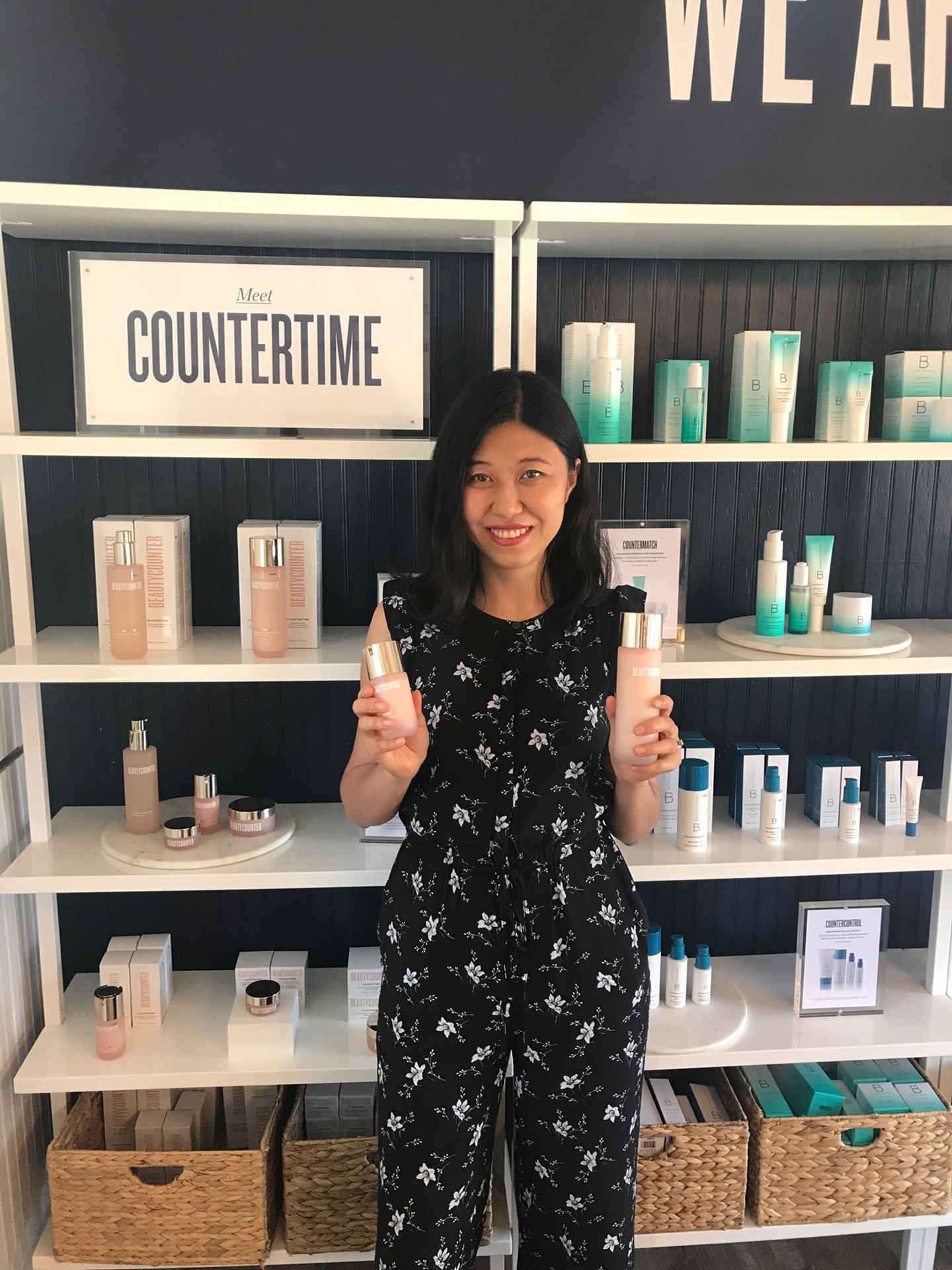 I am holding products in Beautycounter countertime regimen set in the Nantucket store.