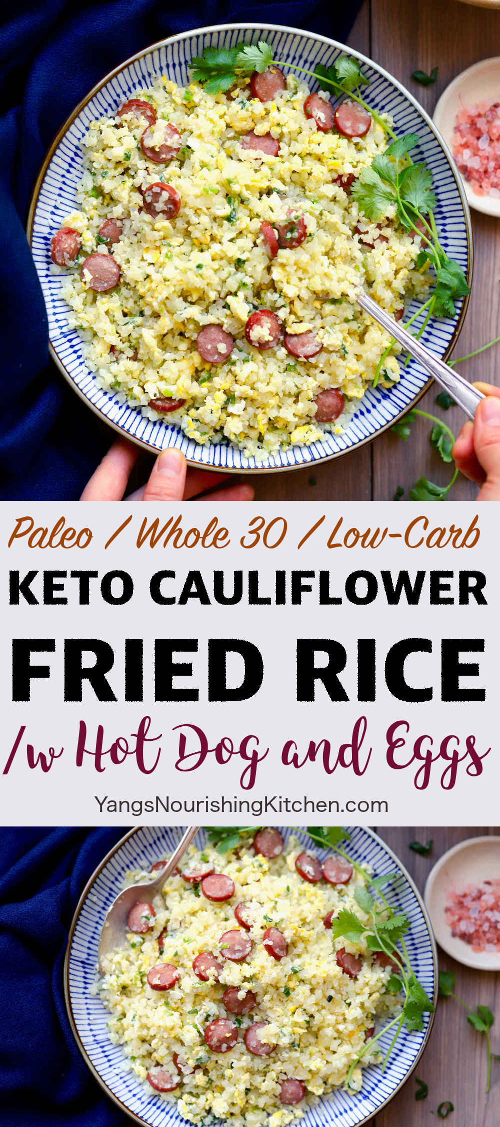 Keto Cauliflower Fried Rice /w Hot Dog and Eggs
