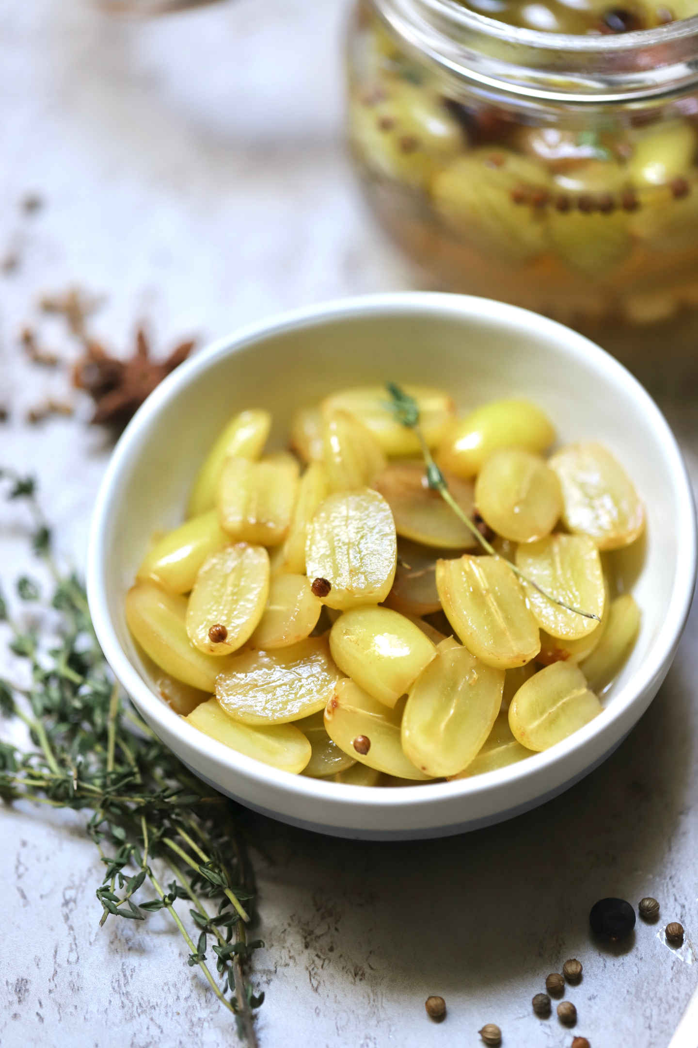 a bowl of delicious pickled seedless green grapes