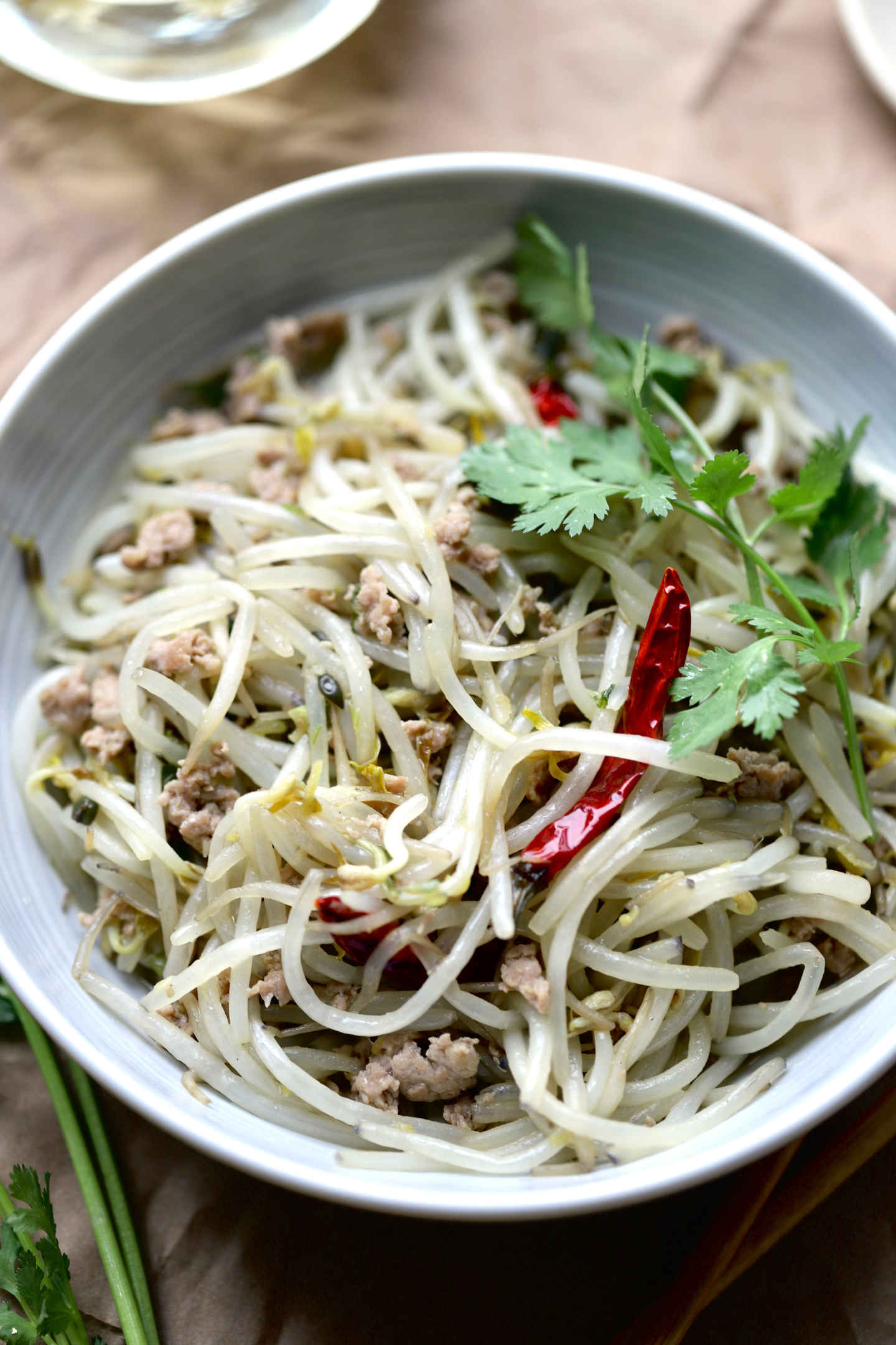 minced pork and beansprouts with a kick from the chili pepper
