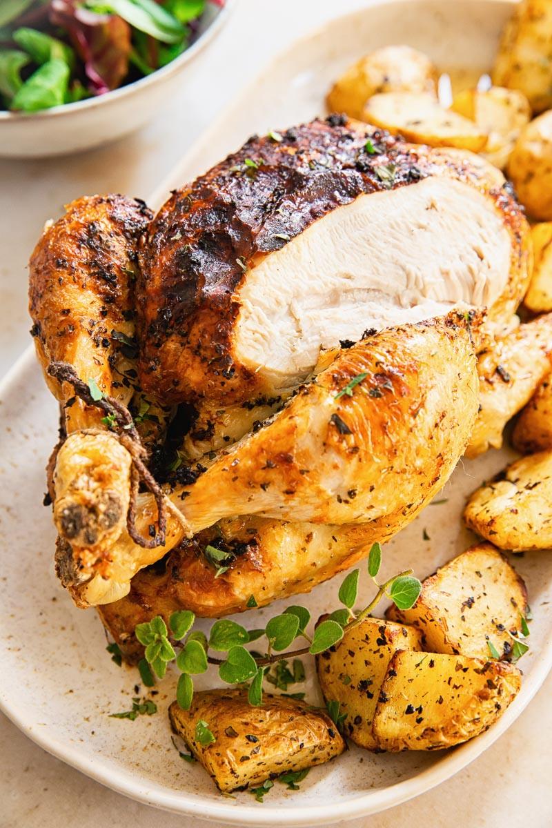 air fryer whole greek chicken