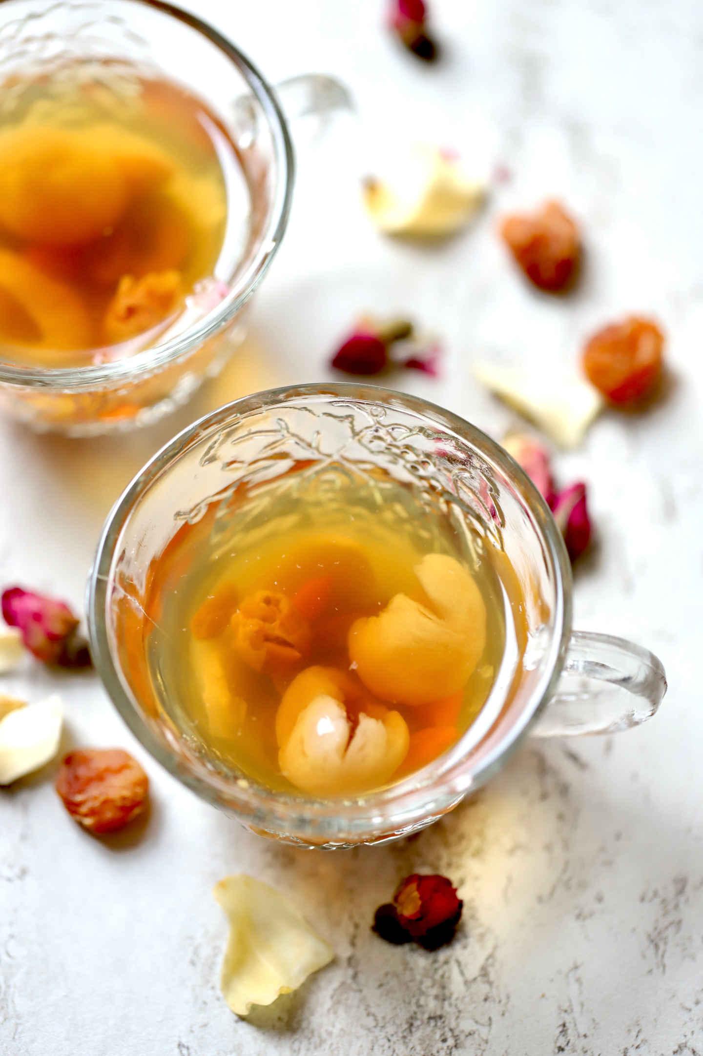 bedtime calming tea served in beautiful cups