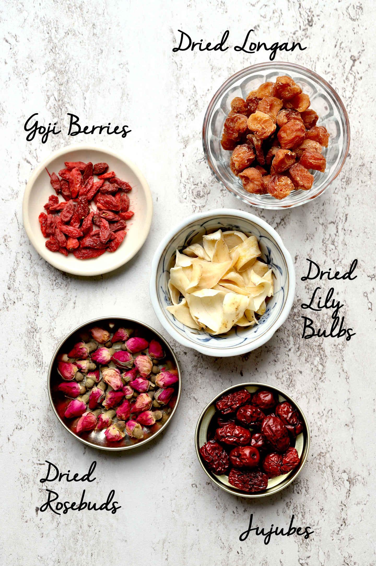 5 ingredients in this remedy: dried longan, goji berries, dried lily bulbs, dried rosebuds, jujubes