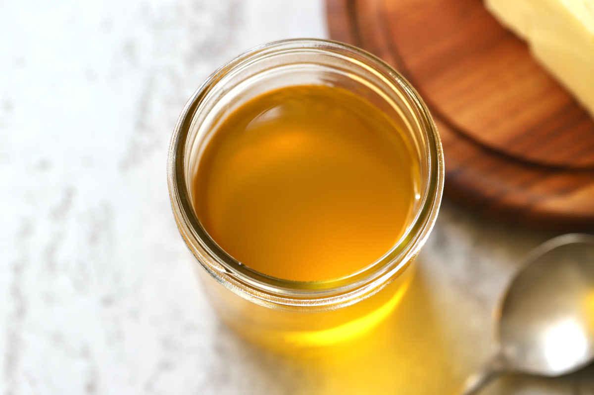 a cup of golden liquid ghee
