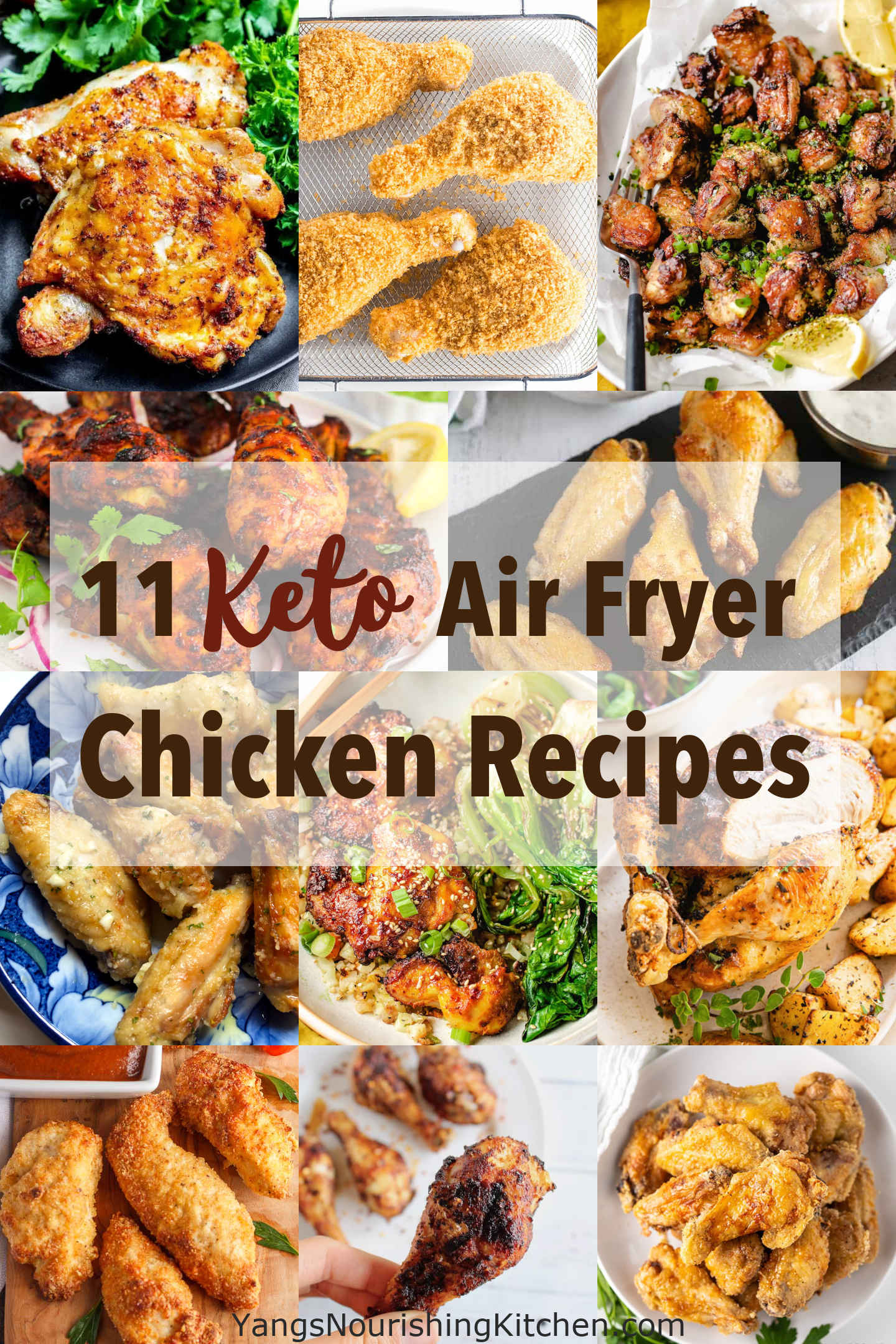 collage of 11 keto air fryer chicken recipes