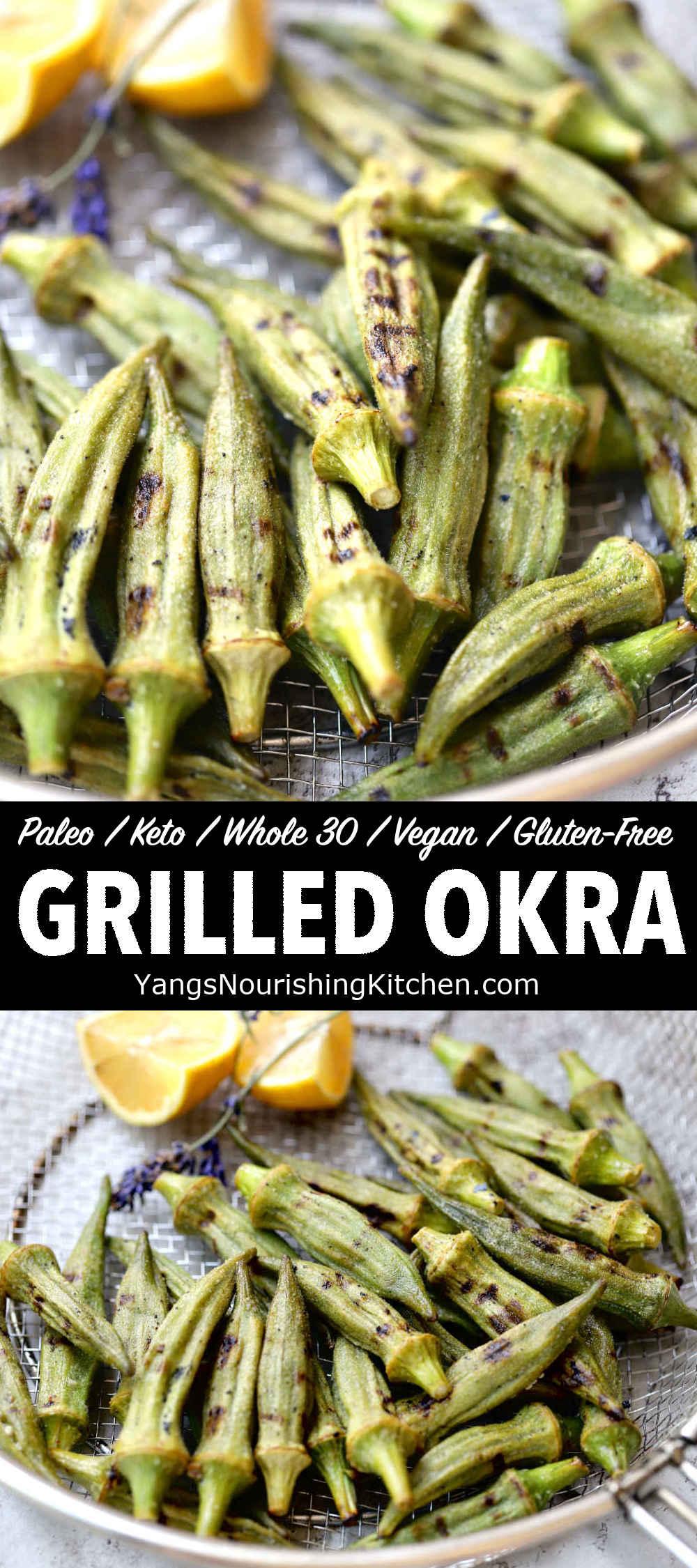 Grilled Okra (Keto, Vegan, Paleo)