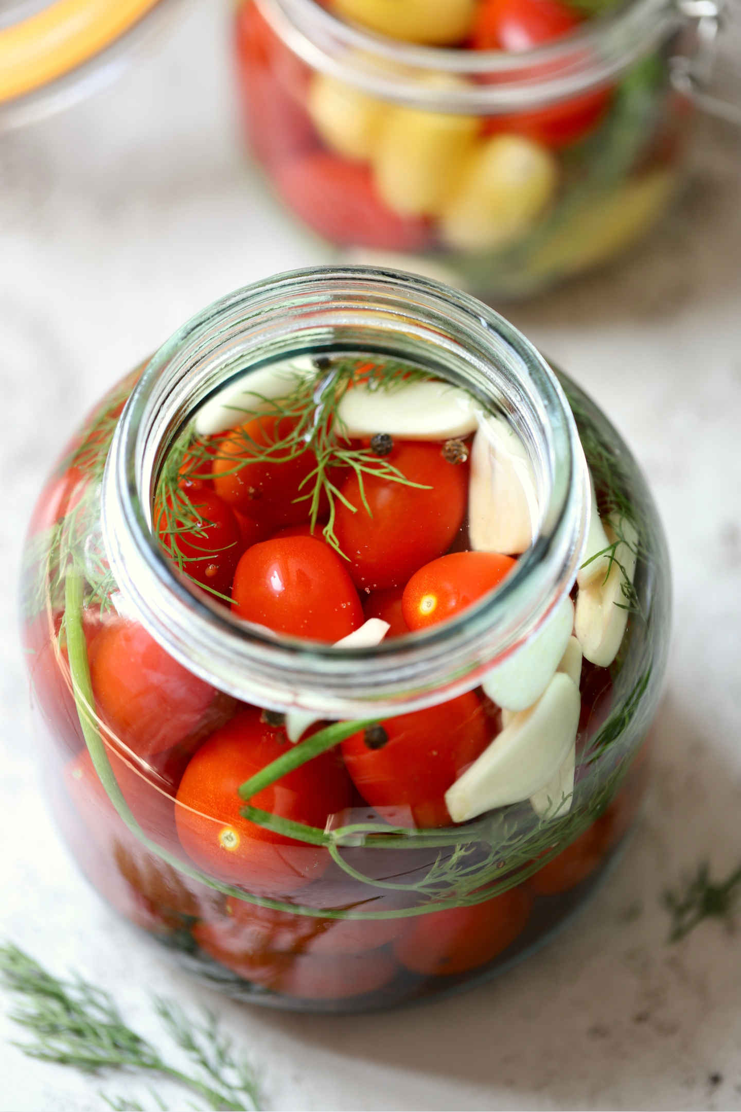 cherry tomatoes in salt brine with garlic, herbs and spices
