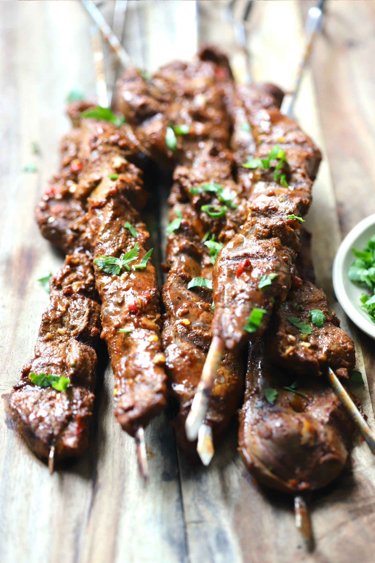 grilled beef (calf) liver on skewers