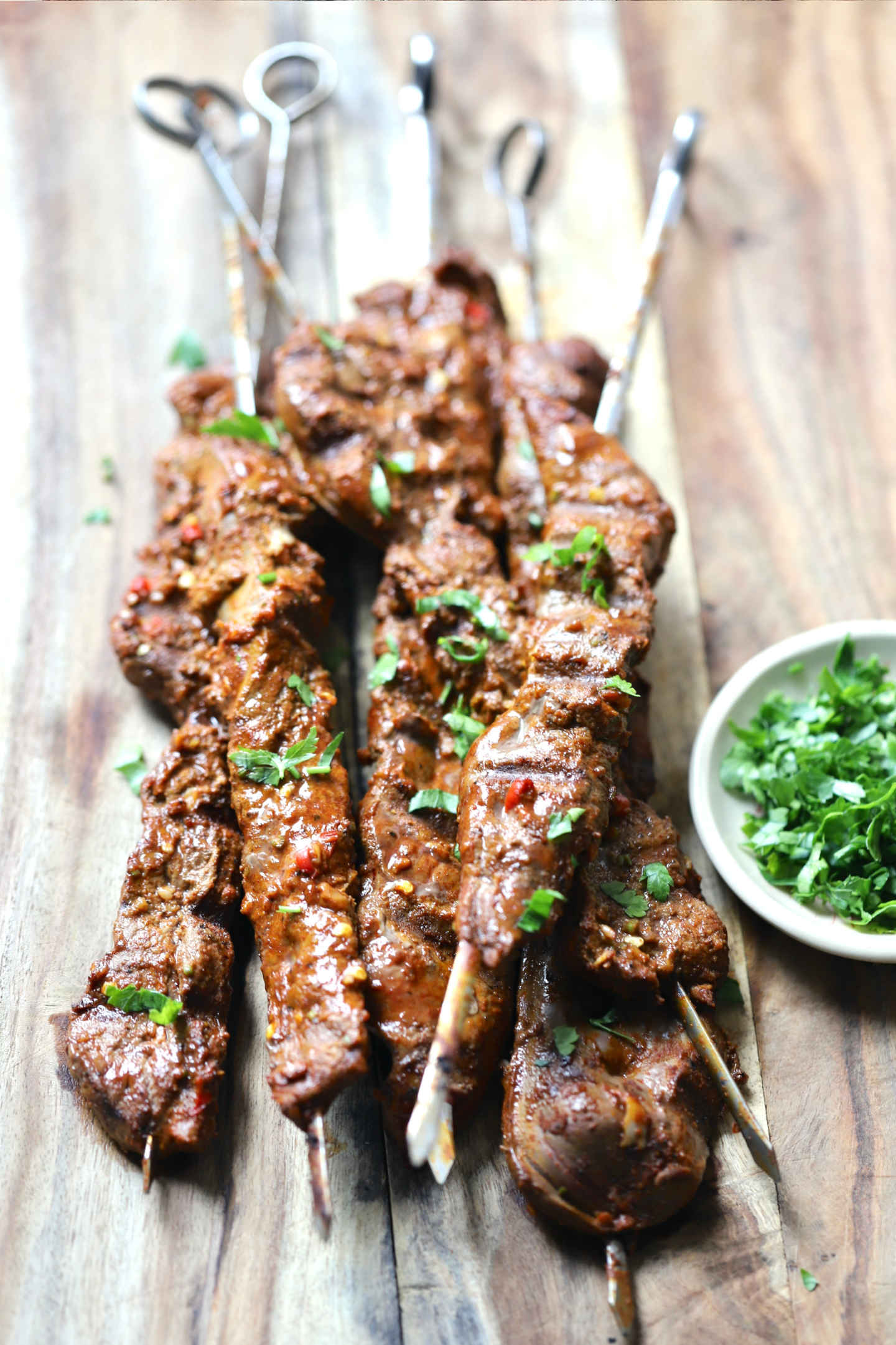calf liver kabobs garnished with parsley
