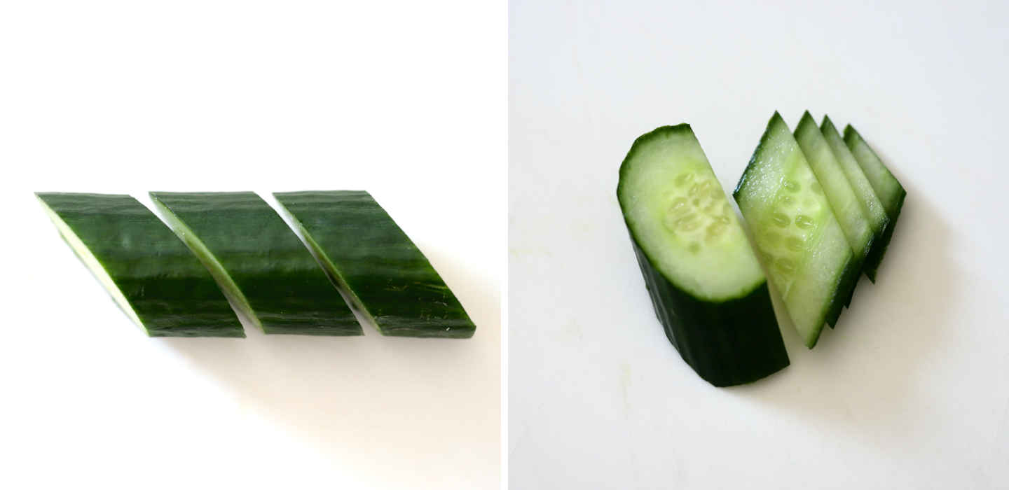 how to cut cucumber into diamond-shaped slices; the same method is used for carrot