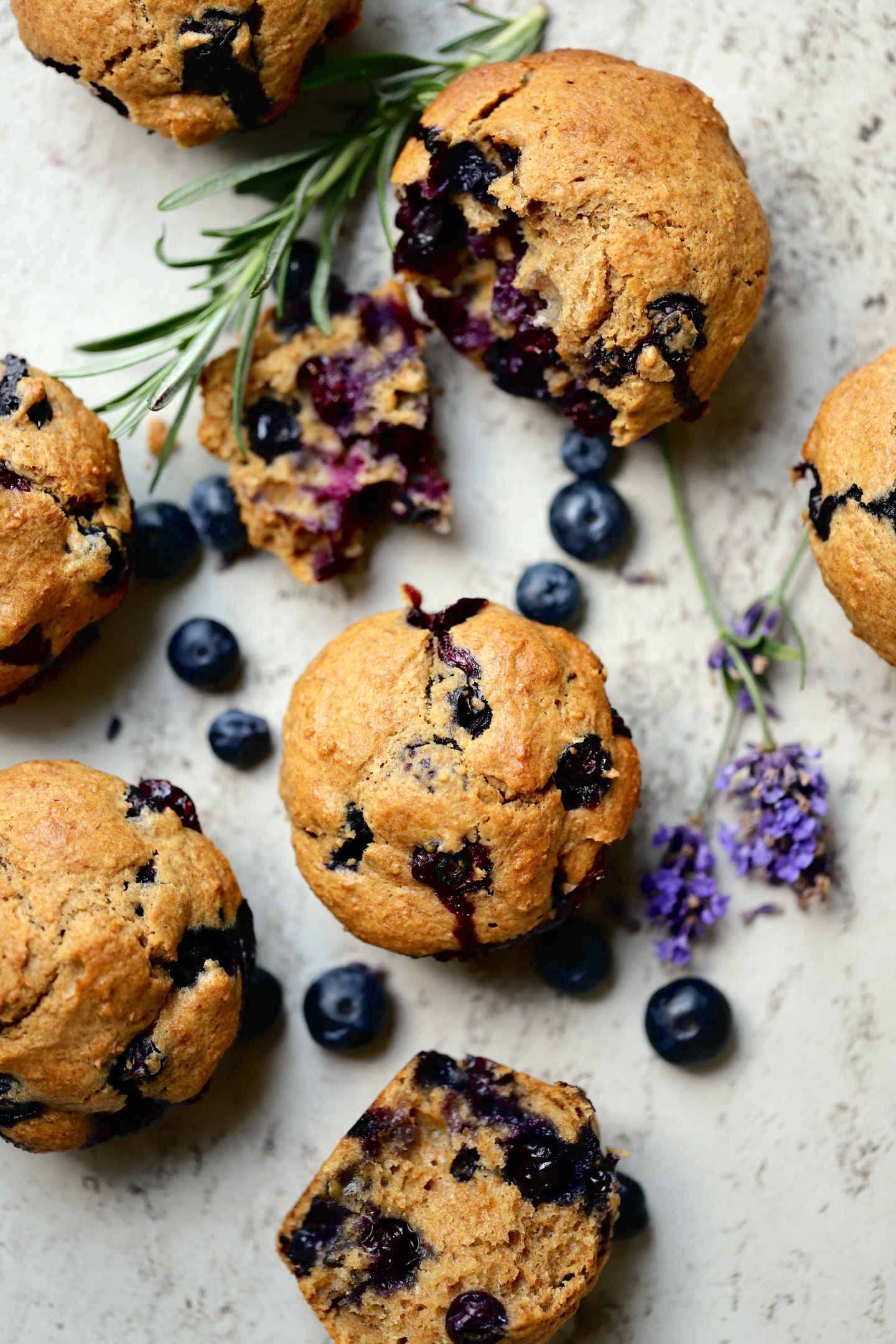 overhead shot of the spelt blueberry muffins